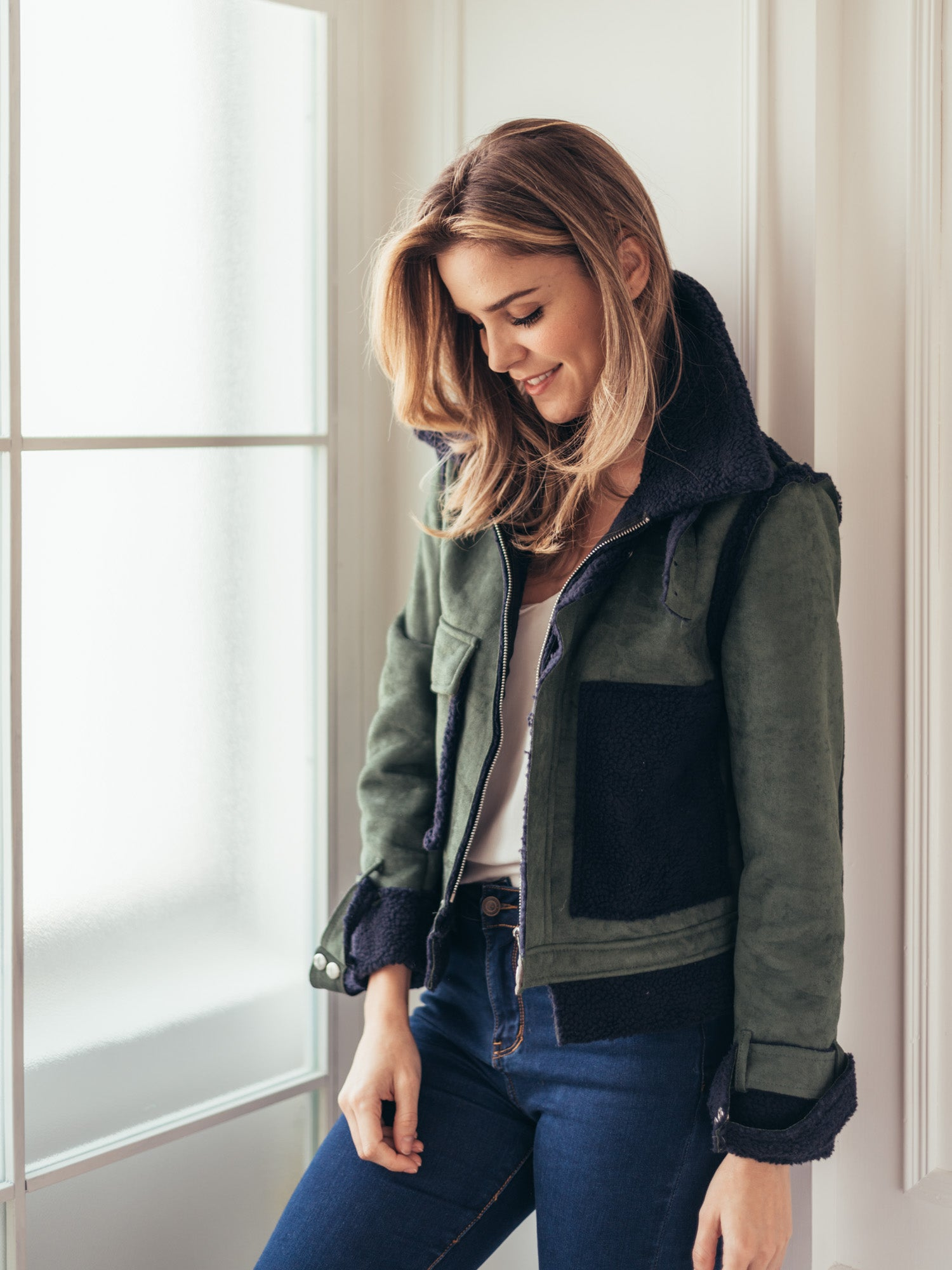 'Taylor' Military Green Color Block Shearling Jacket