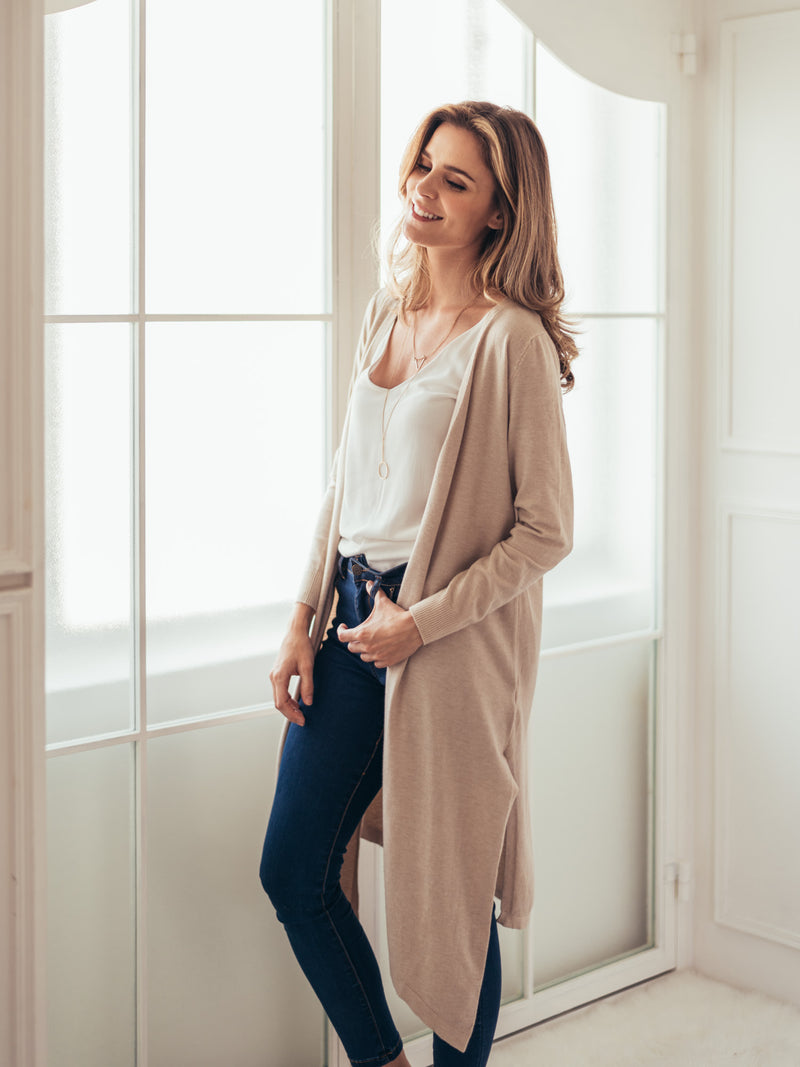 Cream White Soft Long cardigan Outfit by Goodnight Macaroon