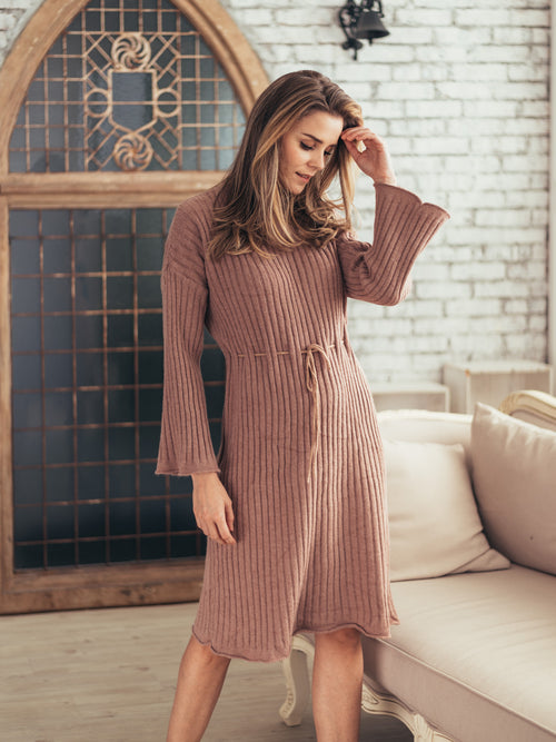 'Susan' Belt Tied Knitted Dress