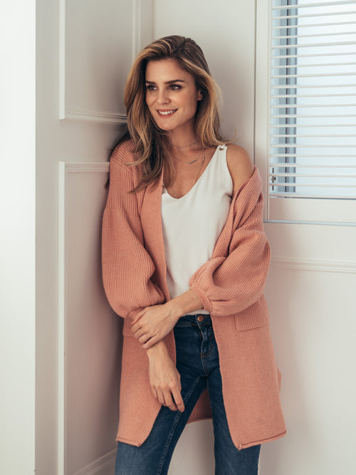 'Maureen' Pink Ribbed Puff Sleeve Cardigan