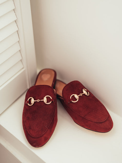 'Pauly' Burgundy Red Suede Horsebit Mules Slippers