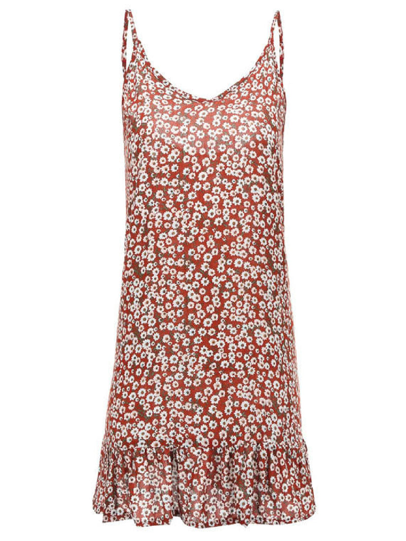 'Diya' Floral Flared Hem Strap Dress