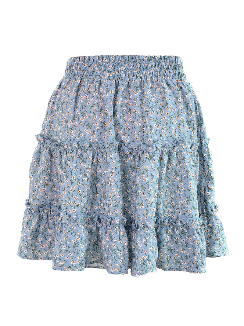 'Charlotte' Ruched Floral Frill Mini Skirt