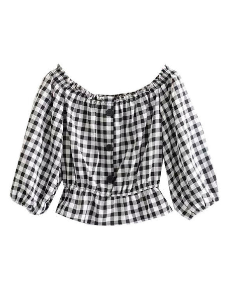 'prisha' Checked Off Shoulder Buttoned Top by Goodnight Macaroon