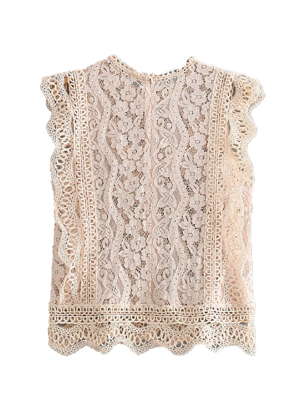 'Jacqueline' Lace-up Eyelet Sleeveless Top