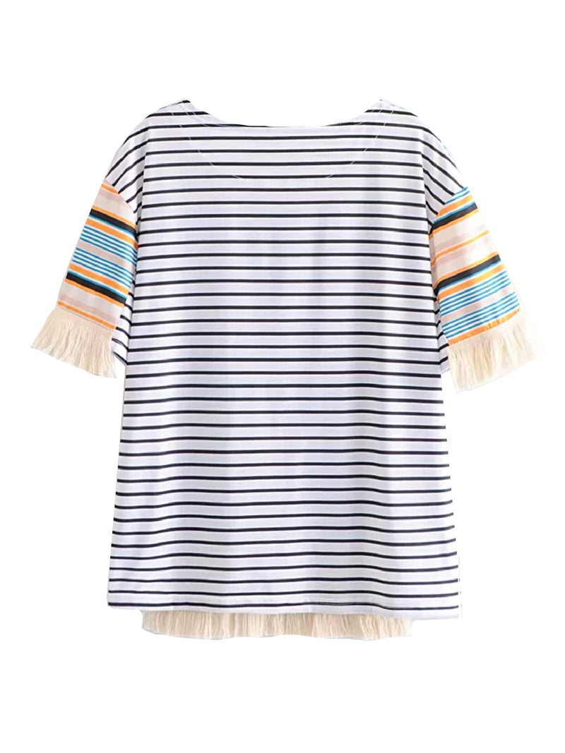 'Lila' Striped Tassel T-shirt