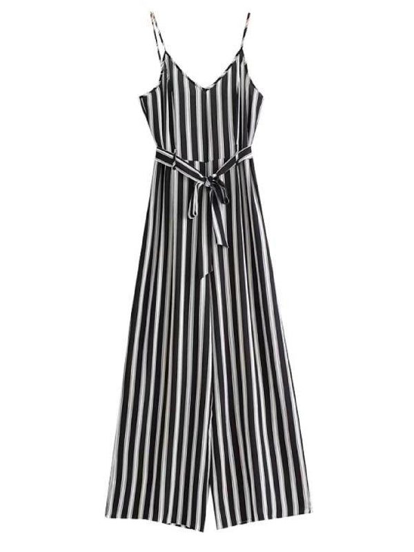 'Lyla' Striped Tied Waist Strap Jumpsuit