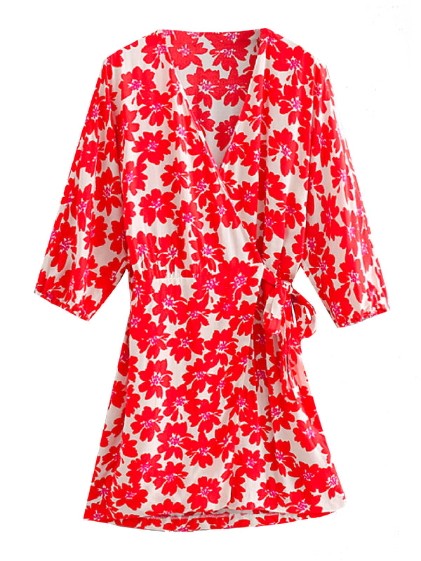 'Londyn' Floral Deep V-neck Wrap Dress
