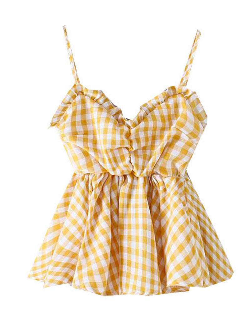 'Willow' Checked Front Tied Strap Top
