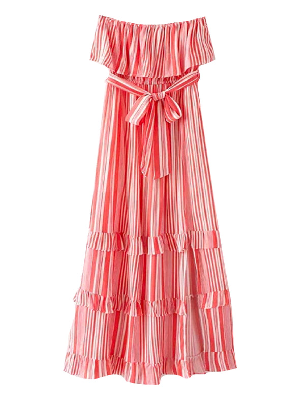 'Maki' Striped Off The Shoulder Maxi Dress