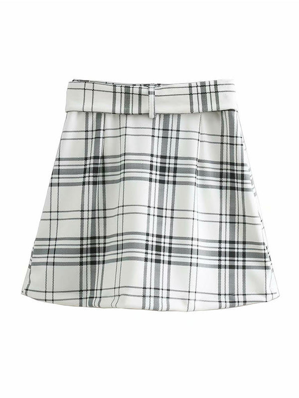 'Elizabeth' Plaid Belted Mini Skirt