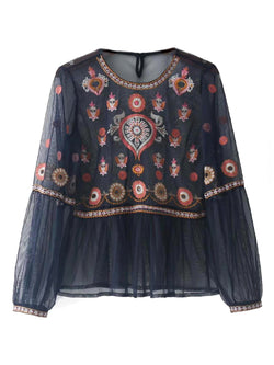 'SUZY' Bohemian Embroidered Sheer Blouse