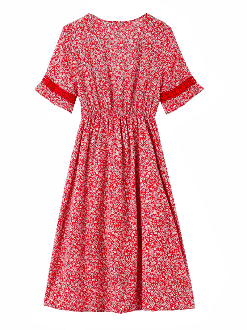 'Sloane' Floral Front Tied Ruched Waist Dress