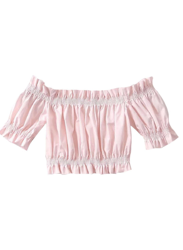 'Mila' Ruffled Off The Shoulder Crop Top