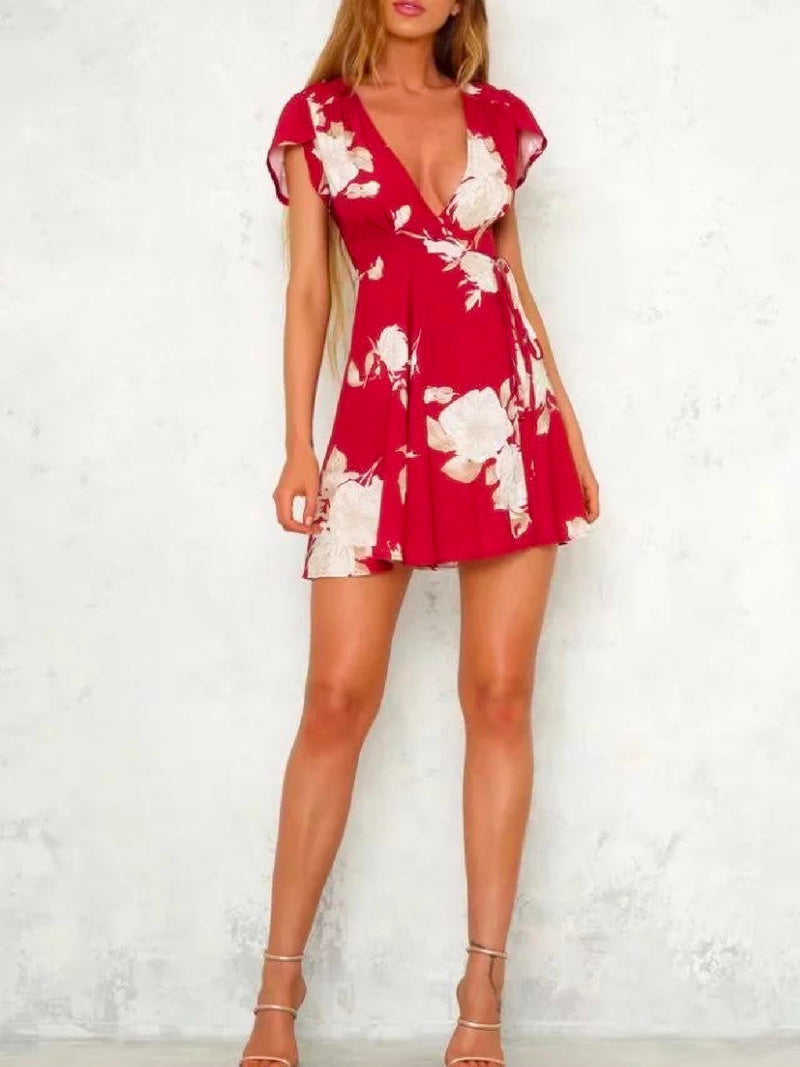 'Birdie' White Floral Deep V-Neck Wrap Dress
