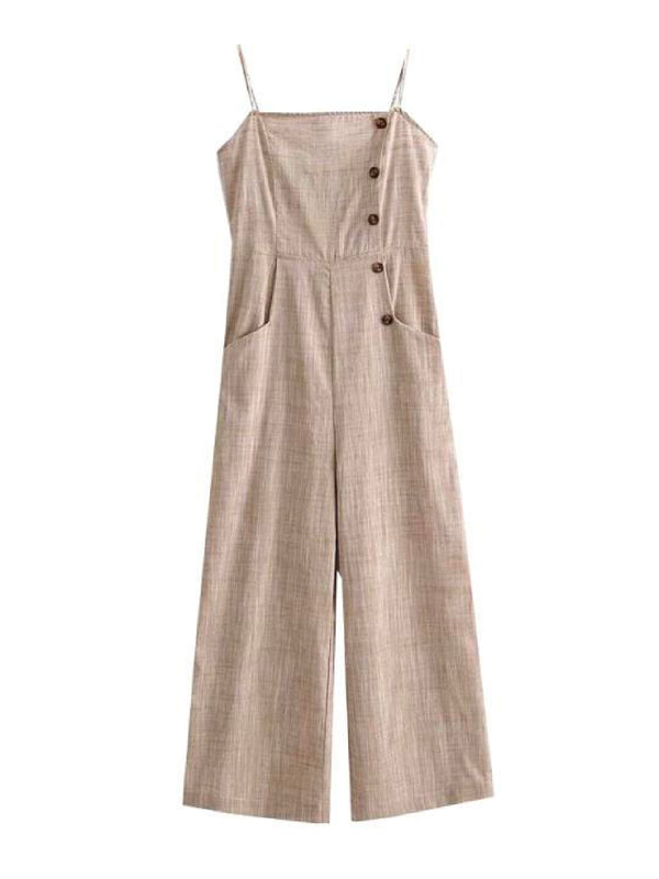 'Molly' Side Buttoned Strap Jumpsuit