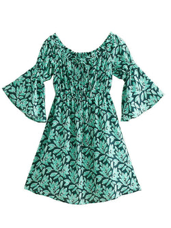 'Jasmine' Leaf Print Off The Shoulder Dress