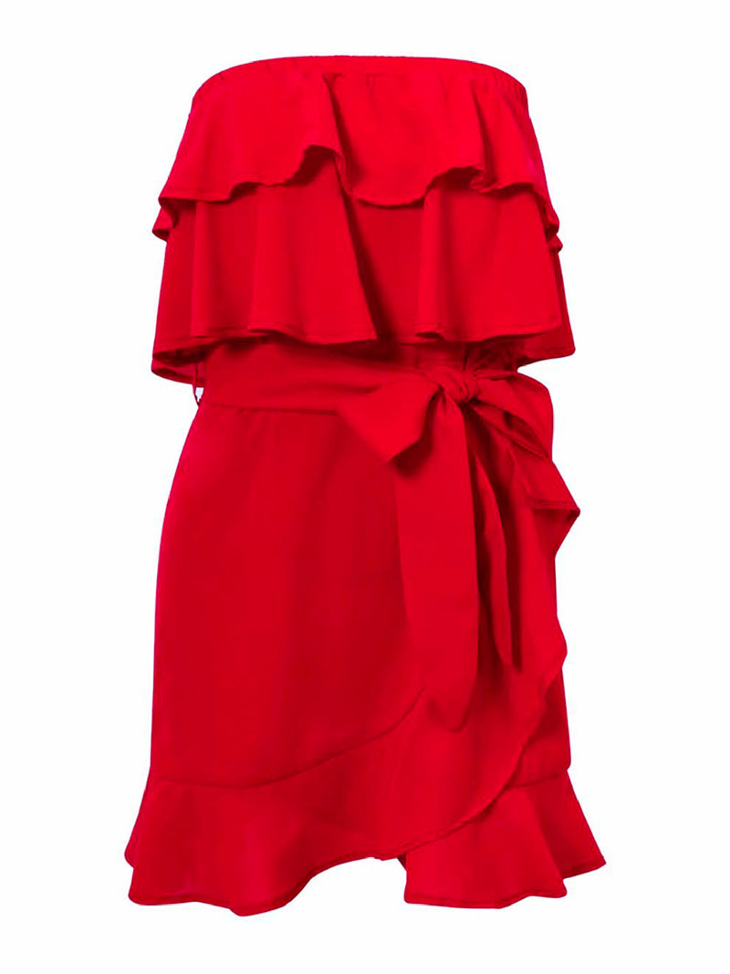 'Sawyer' Off The Shoulder Ruffled Wrap Dress