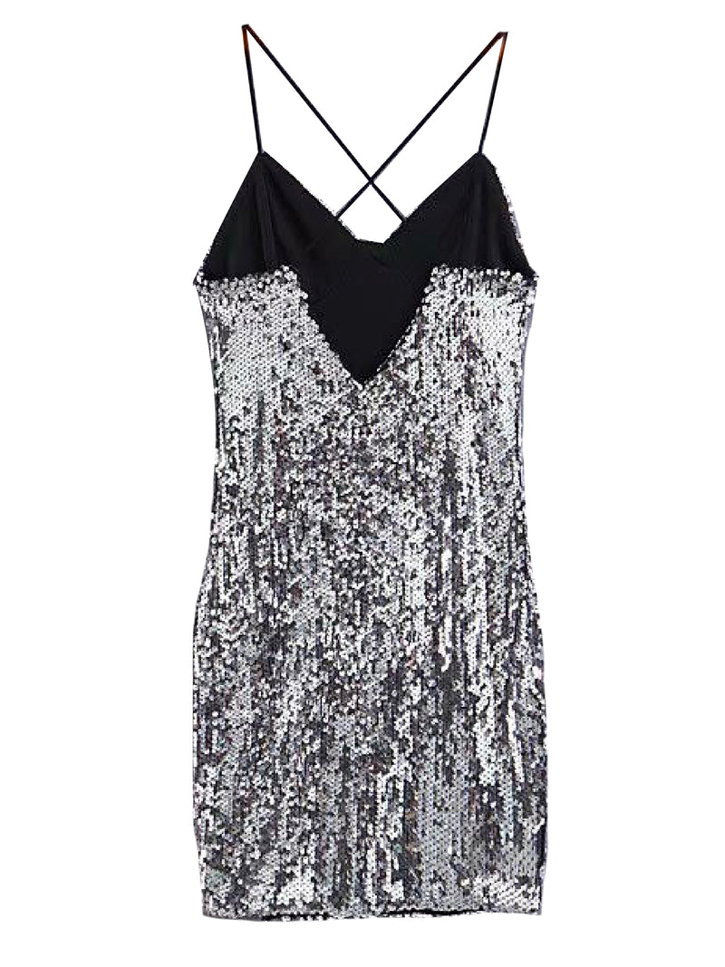 'Aubrey' Sequinned Strap Side Slit Mini Dress