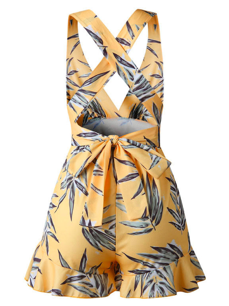 'Delia' Leaf Print Deep V-Neck Open Back Romper