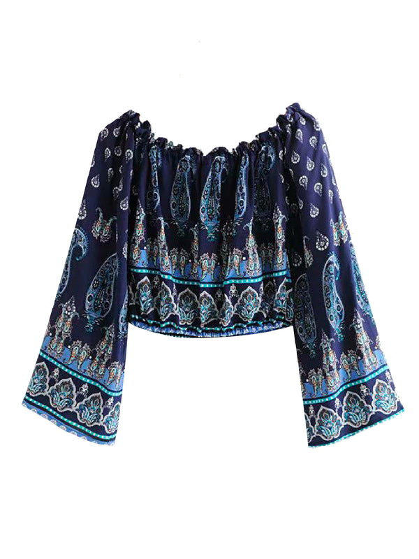 'Colleen' Off The Shoulder Bohemian Print Blouse