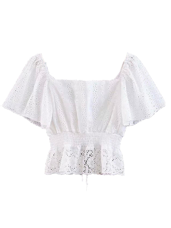 'Khloe' Front Tied Eyelet Top