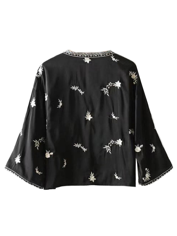 'LUCY' DEEP V-NECK EMBROIDERED BLOUSE