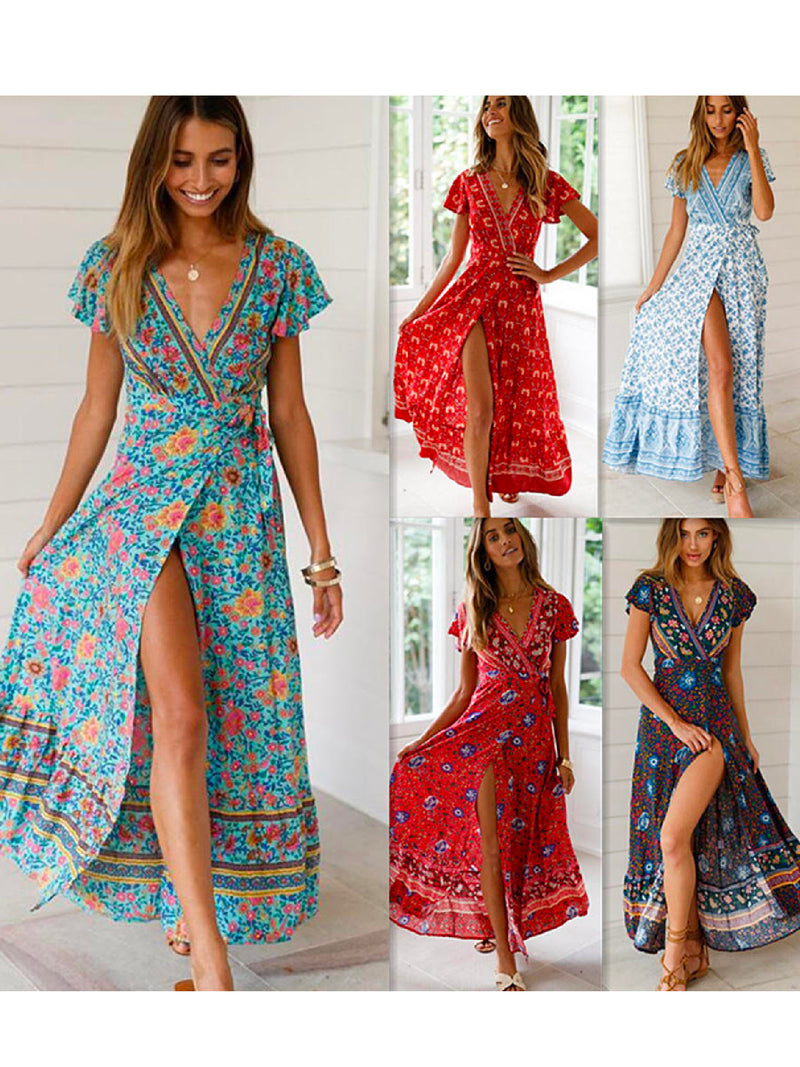 'Daleyza' Printed Split Maxi Wrap Dress
