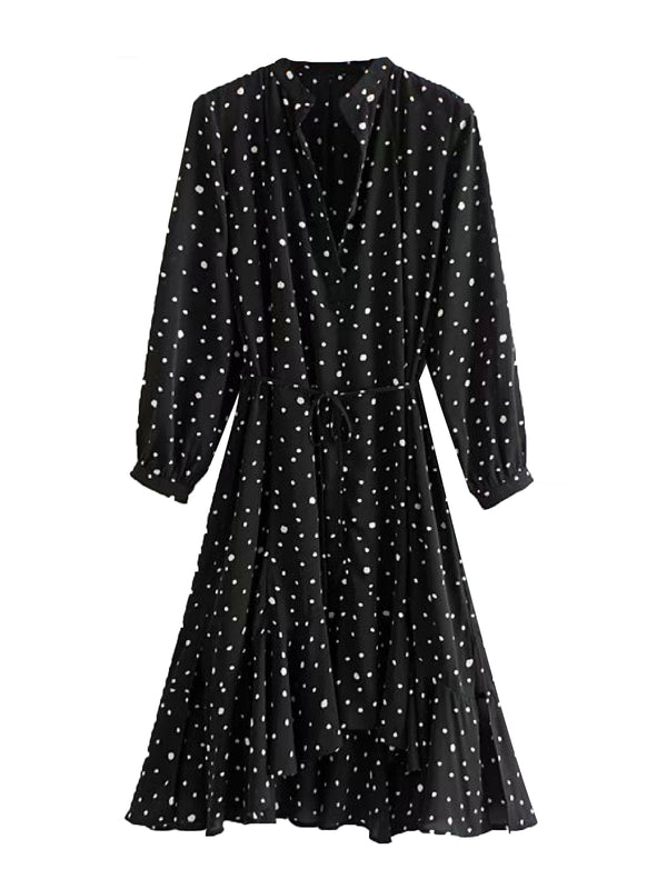 'Elliana' Polka Dot Front Tied Deep V-neck Midi Dress