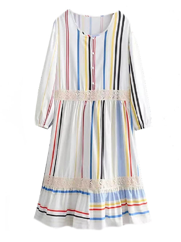 'Isla' Striped Buttoned Midi Dress