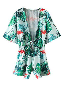 'Brooklyn' Leaf Print Tied Front Romper