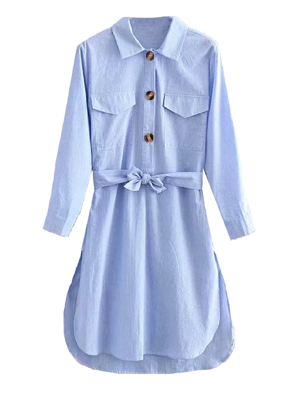 'Anastasia' Front Tied Shirt Dress