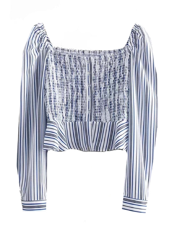 'Juliette' Striped Square Neck Ruched Top