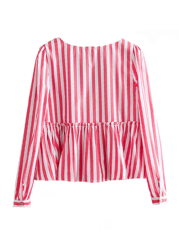 'Laila' Striped Ruffled V-neck Blouse