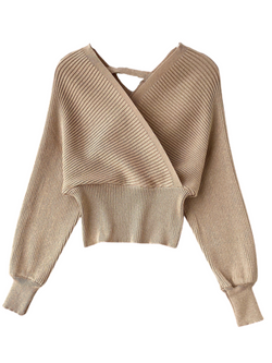 'Sammi' Wrap Metallic Knitted Sweater (6 Colors)