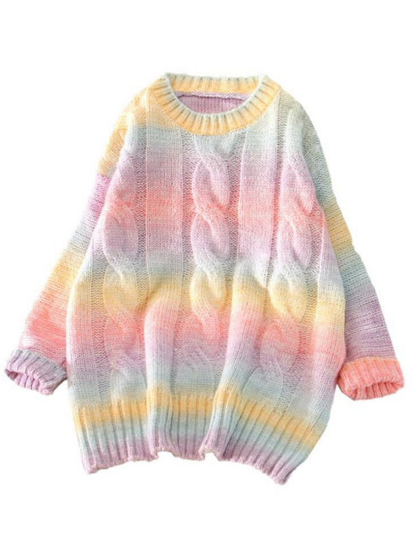 'Connie' Tie-dye Cable-knit Sweater (2 Colors)