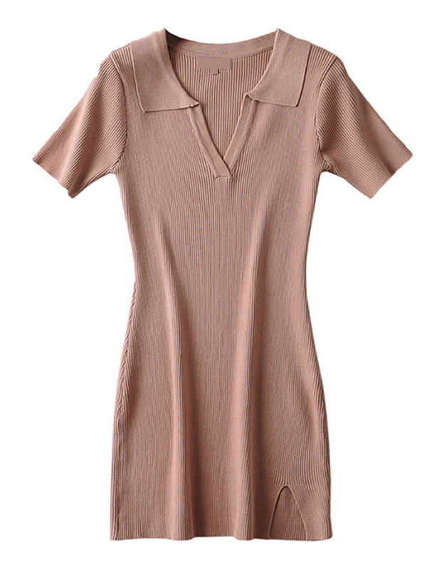 'Kary' Polo Ribbed Flare Dress (4 Colors)