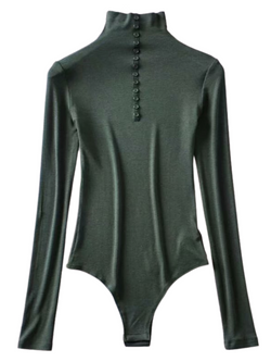 'Wise' Buttoned Neck Long Sleeves Bodysuit (4 Colors)