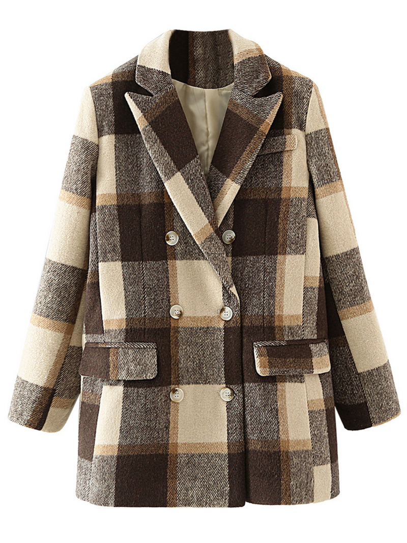 'Collie' Plaid Double-breasted Blazer Coat