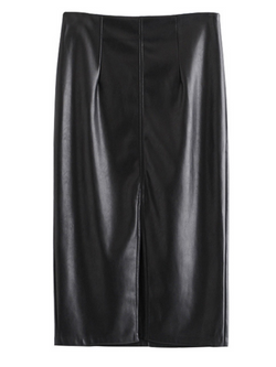 'Heidi' Faux Leather Midi Skirt