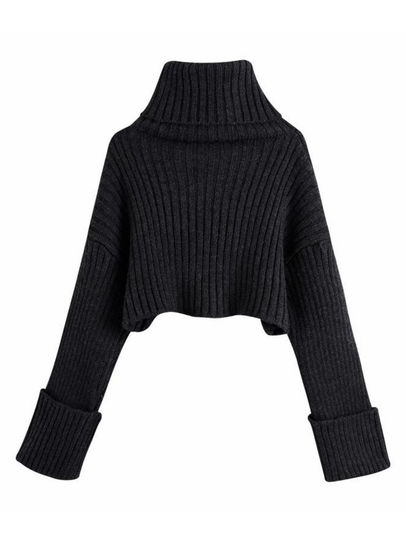 'Sue' Ribbed Turtleneck Cropped Sweater