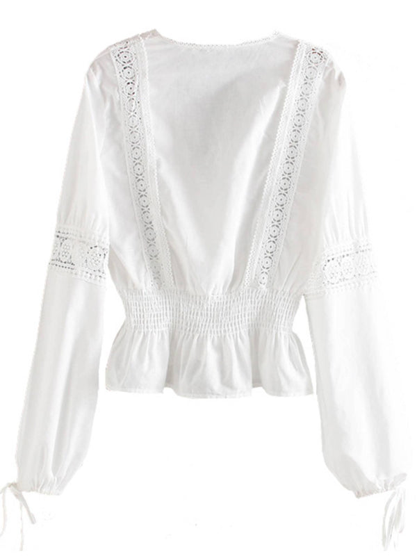 'Mia' V-Neck Embroidered Eyelet Blouse
