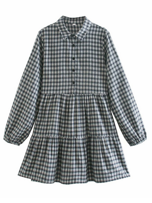 'Ruth' Checked Mini Layered Shirt Dress