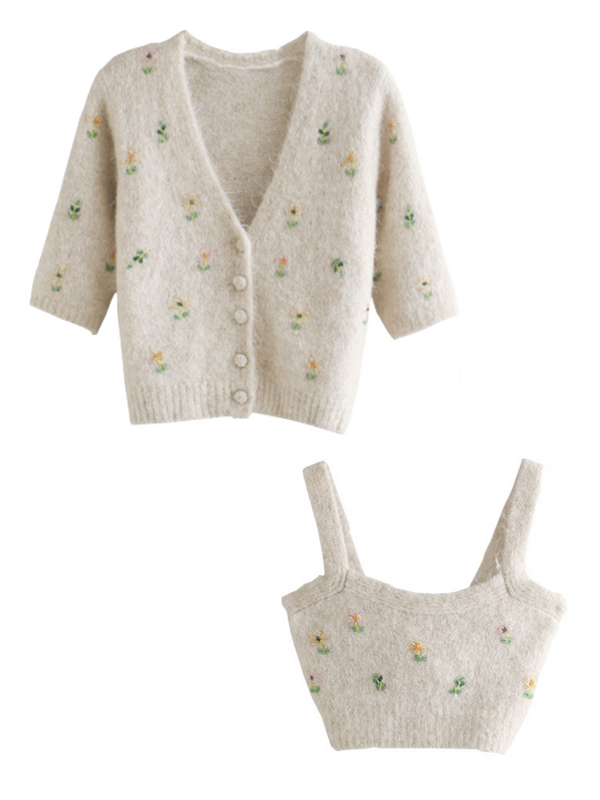 'Nelly' Bead Embroidered Cardigan Set