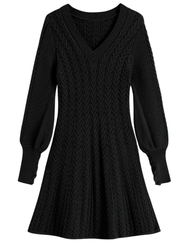 'Tullie' V-neck Cable-knit Flare Dress (3 Colors)