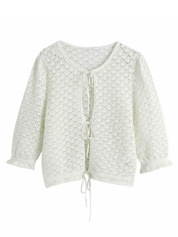 'Kate' Lace Eyelet Tripe Tie Knitted Top