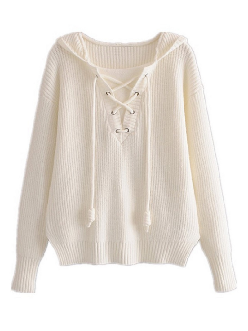 'Elina' Lace-up Hooded Sweater