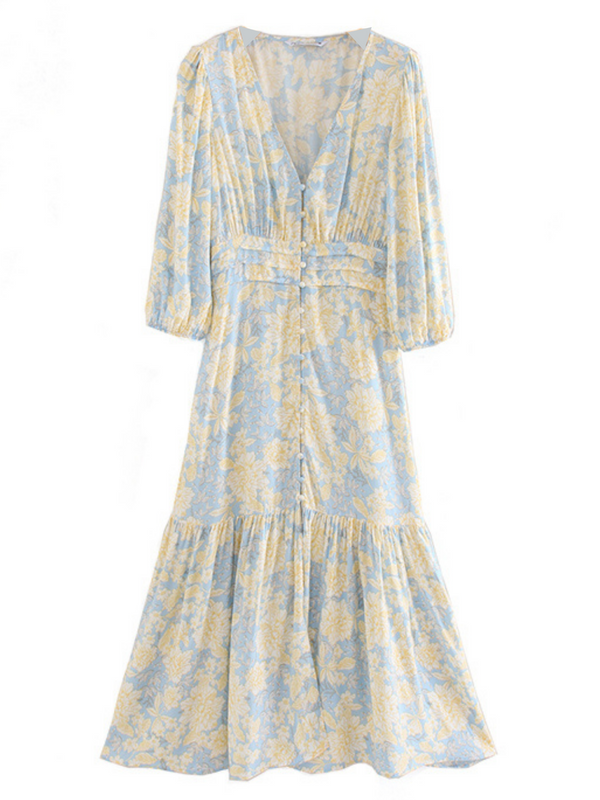 'Stella' V-neck Buttoned Floral Maxi Dress
