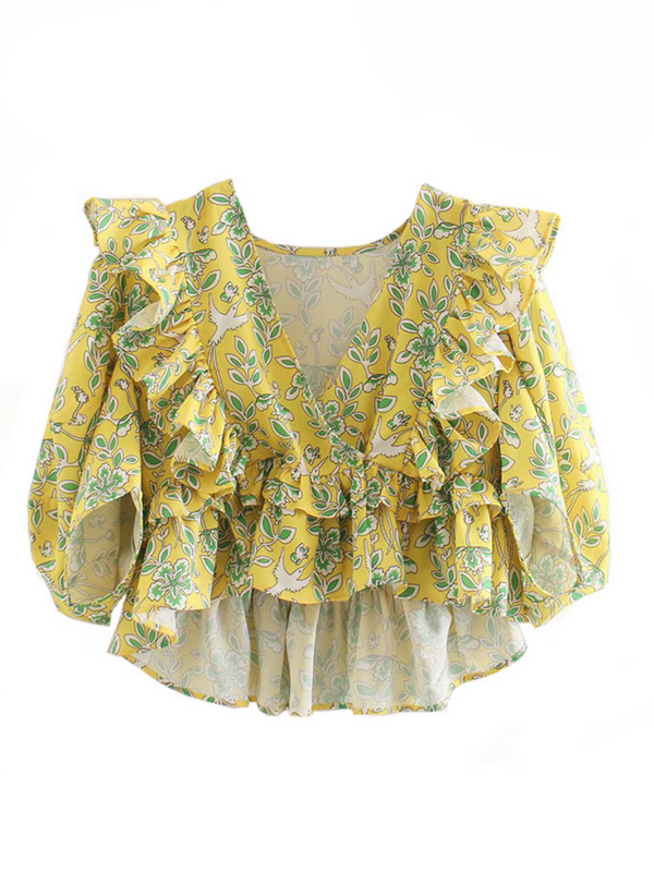 'Kelly' Floral Ruffled Wrap V-neck Top