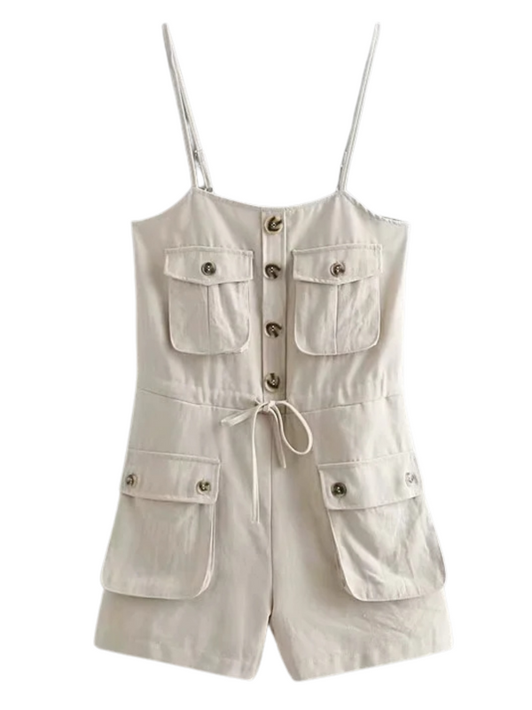 'Sugar' Cami Tied Pocket Linen Romper